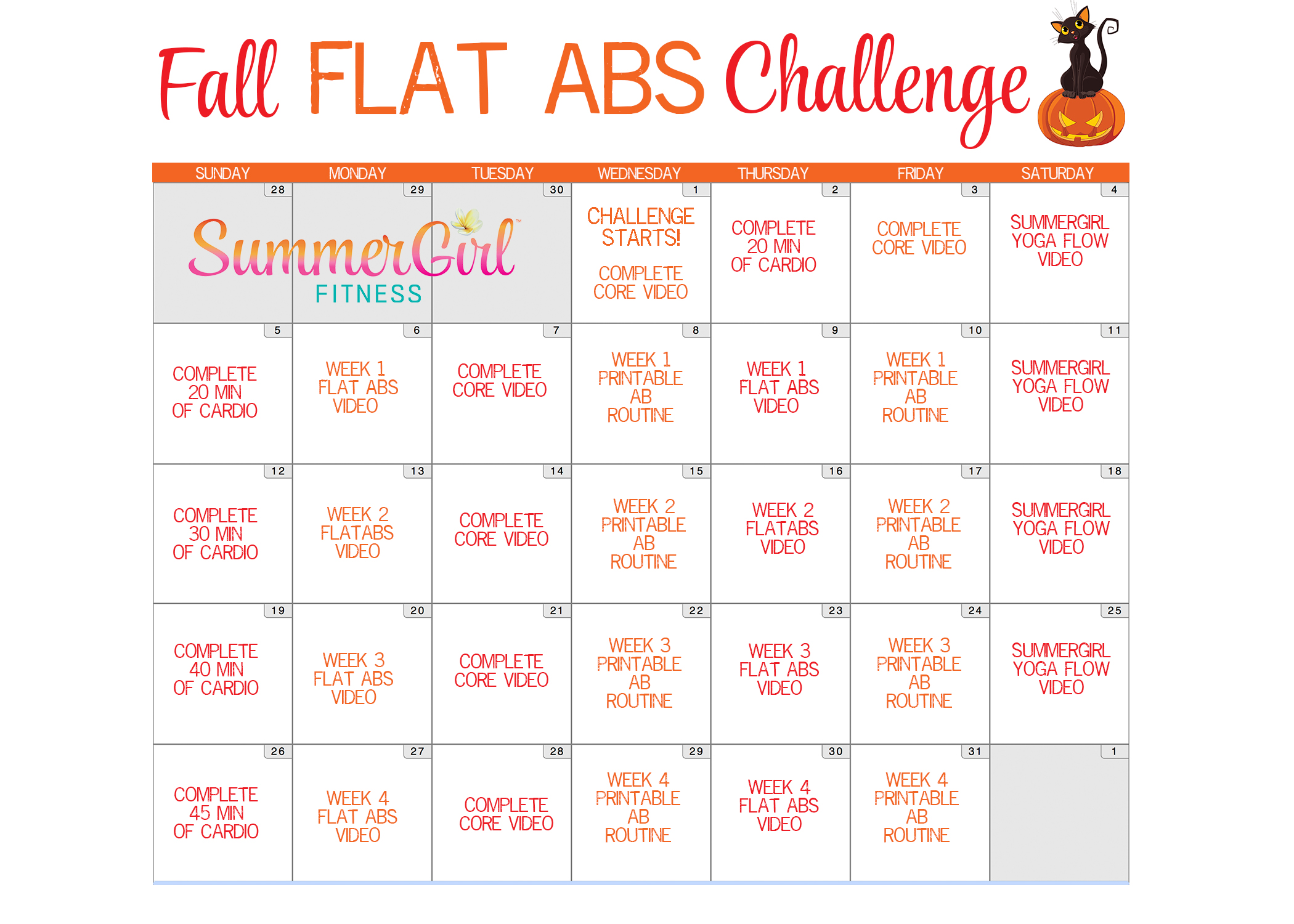 Fall Flat Abs Challenge | SummerGirl Fitness